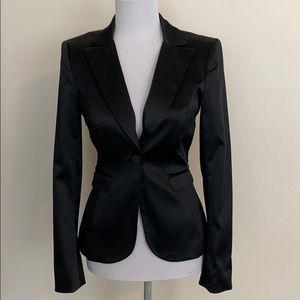Bebe satin fitted seam detail black blazer jacket